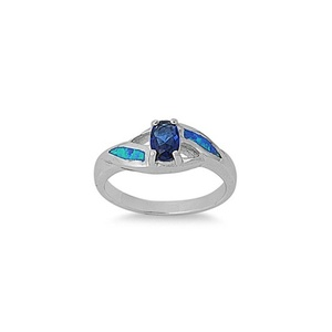 6mm Solitaire Engagement Ring Oval Cut Simulated Blue Sapphire Lab Created Blue Opal 925 Sterling Silver