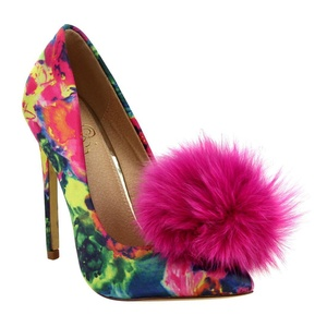 Liliana Affair Satin Pointy Toe Stiletto High Heel Fur Pom Slip On Pump Slide Shoe Pink Multi-Color 10