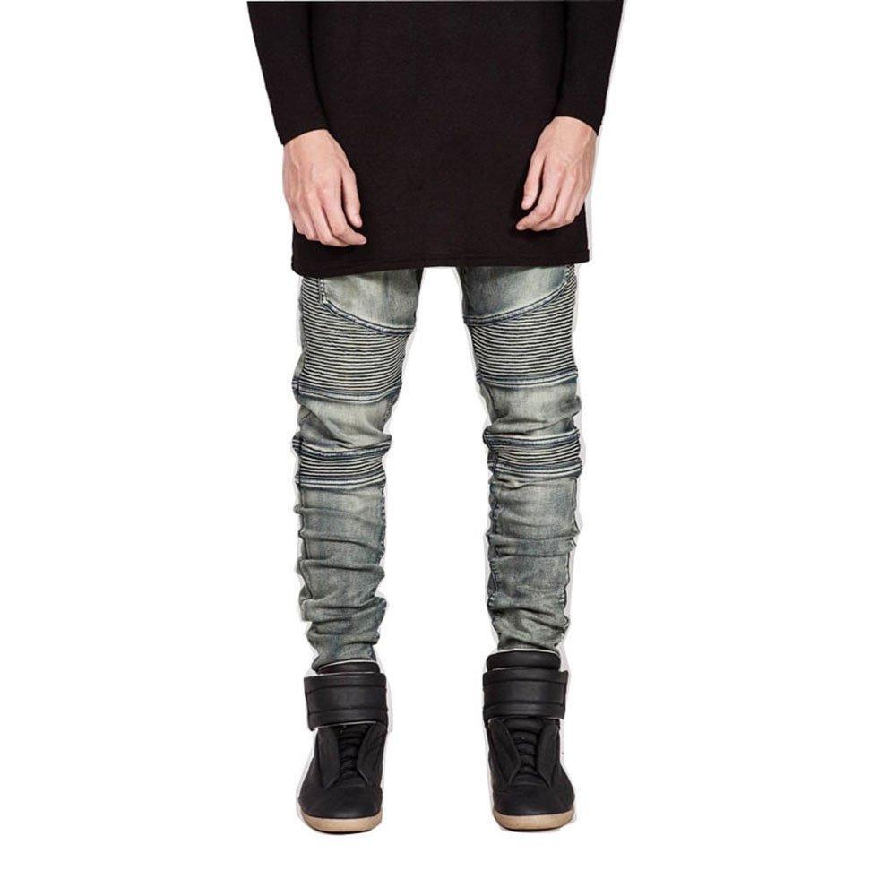 Mens Punk Hipster Frayed Destroyed Washed Straight Denim Jeans Pants Street Wear