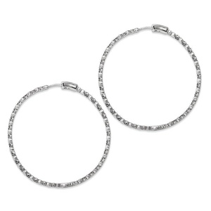 .925 Sterling Silver 64 MM Diamonds In & Out Hoop Earrings