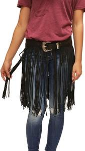 Black Hand Tooled Genuine Leather Fringe Belt (38)