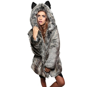 Sunsent Women Faux Fur Long Length Hooded Outerwear Coat Jackets