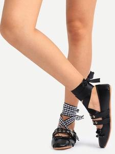 Unique Round Toe Bow Lace-up Ballet Flats
