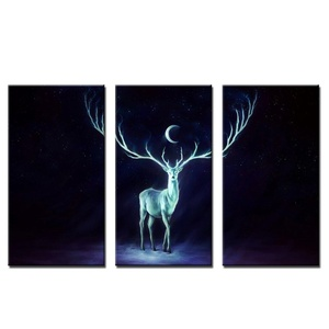 VVOVV Wall Decor - 3 Pieces New Design Wall Decoration Canvas Picture Prints Deer Under The Moon Wall Art Decor For Living Room 40x75cmx3pcs,unframe