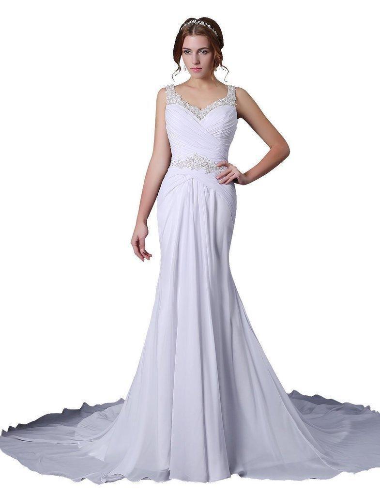 JoyVany Open Back Wedding Gowns 2016 Beaded Mermaid Chiffon Bridal Gown White Size 8