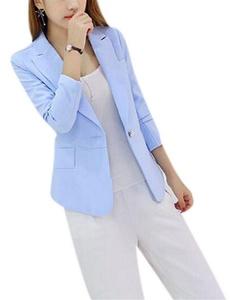 Women's Slim Fit Candy Color Long Sleeve Lapel OL Blazer Jacket Suit Coat Outwear