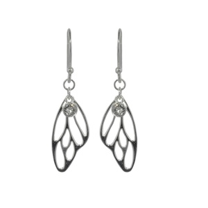 Tomas Sterling Silver Cutout Butterfly Wing Dangle Earrings with Clear Crystal