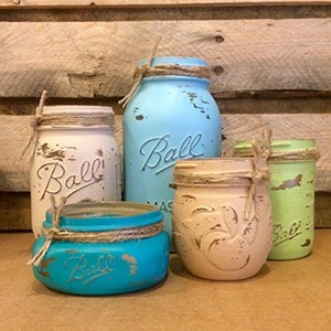 5 Piece Mason Jar Desk Set, Blue, Green and Tan Mason Jars, Mason Jar Bathroom Set, Rustic Office Decor, Coastal Colors Mason Jar Set, Mason Jar Office Organizer, Mason Jar Vanity Set