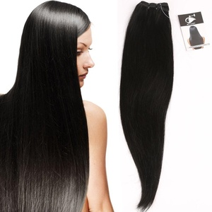 100% Unprocessed Brazilian Remy Virgin Human Hair Extensions Silky Straight Weft 100g Natural Black Color #1B (12