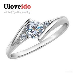 Dudee Jewelry White Gold Plated Wedding Jewelry Ring Crystal Engagement Silver Zircon CZ Ring Rose Gold J045