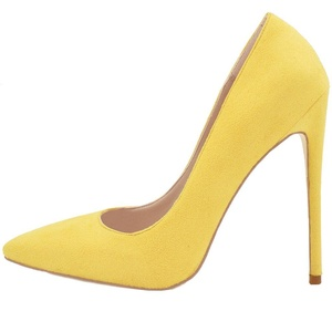 Lovirs Womens Yellow Suede-A Pointed Toe High Heel Slip On Stiletto Pumps Large Size Wedding Party Basic Shoes 8 M US