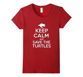 Women's Keep Calm And Save The Turtles Shirt Medium Cranberry