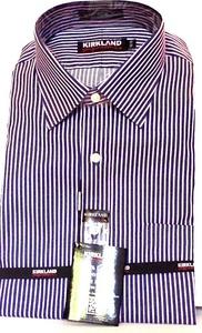Kirkland Signature 100% Cotton Non-Iron Dress Shirt. 15.5 x 33 Blue Pink Stripes