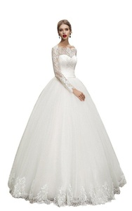 JoyVany Elegant Long Sleeve Wedding Dress Lace Applique Ball Gown Wedding Gowns Ivory Size 8