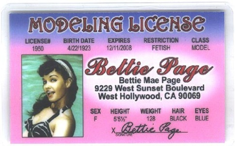 Betty Page Fun Fake ID License by Signs 4 Fun