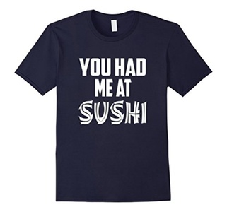 Men's You Had Me at Sushi T-Shirt, This is How I Roll Shirt Medium Navy