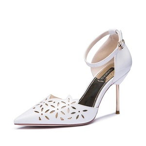 Women sandals/Summer hollow heels/Fine fashion high heel shoes with a solid color-A Foot length=23.3CM(9.2Inch)