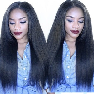 Brazilian Silky Straight Hair Lace Front Wigs Human Hair with Baby Hair for Black Women 130% Density Natural Color 18Inch