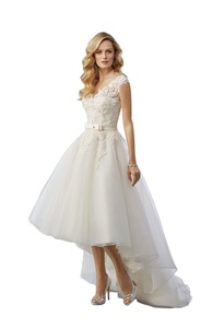 Heartgown Women's V-Neck Lace and Tulle Ruffle Bow Hi-Lo Wedding Dress