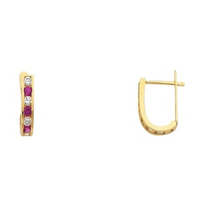 14K Solid Yellow Gold Magenta and White Cubic Zirconia Huggie Earrings