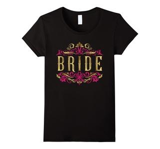 Women's Bride Shirt Rustic Wedding Party Gold Foil Pink Glitter XL Black