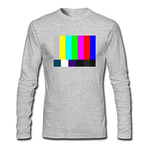 TV test pattern for Men Printed Long Sleeve Cotton T-shirt