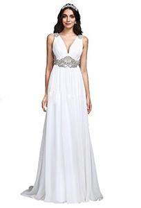 Angel Formal Dresses Women's V Neck Beaded Soft Ruching Chiffon Wedding Dress (10, Ivory)