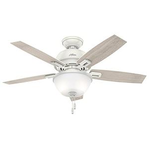 Hunter Fan Donegan Collection Fresh White/Light Grey 44-inch 5 Reversible Blades Ceiling Fan