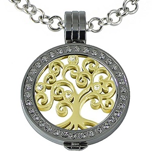 Quiges - Women Stainless Steel Necklace with 25mm Coin Locket and Coin Tree of Life/Flower of Life Set #773