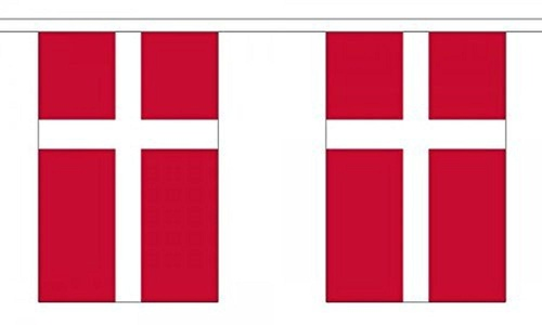 Denmark Bunting 9M Metre Length With 30 Flags 9X6 100% Woven Polyester by Derbyshire