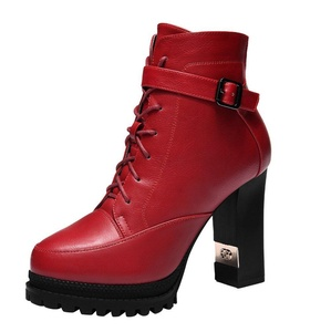 T&Grade Women Fashion Casual Lace Up Belt Buckle Platform Chunky High Heel Ankle Boots(6 B(M) US, Red)