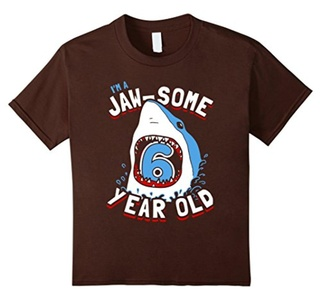 Kids 6th Birthday Boys Shark T-Shirt | Jaw-some 6 Year Old 12 Brown