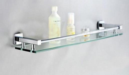 Chrome Brass Glass Rectangular Shelf Wall Mounted Shower Caddy Shelf Brass Base Glass Tier Storage Holder, Glass Shelves for Bathroom