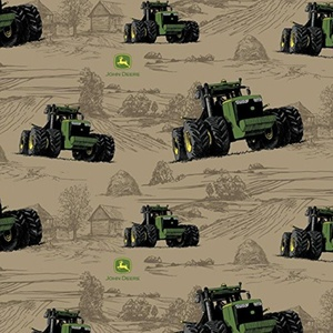 John Deere Big Time Farm Tractor Tan Fabric From Springs Creative By the Yard