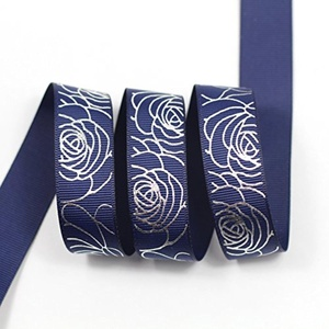 Midi Ribbon Silver Rose Print Ribbon 7/8
