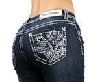 Denim Couture Rose Medium Blue Wash Boot Cut Jeans - Waist 11