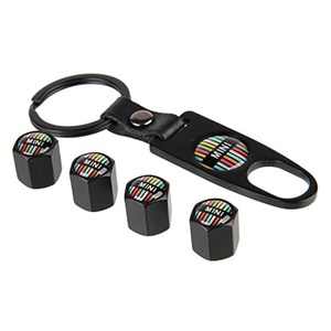 eXeParts Black Tire Valve Stem Air Caps Cover and Keychain Combo Set For MINI(Rainbow Logo)