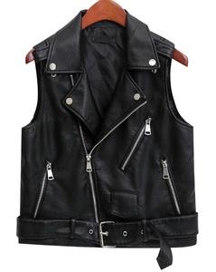 TRENDY XU Women Lapel Faux Leather Sleeveless Vest PU Motorcycle Jacket (M)