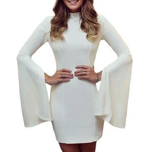 MAX Sonne Women High Neck Slit Bell Sleeves Mini Dress-(L)