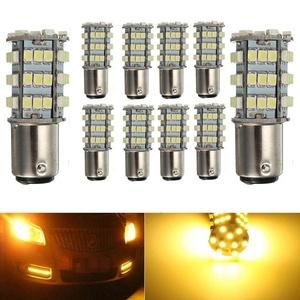 KATUR 10 x Amber 1157 S25 BAY15D 1210 54-SMD LED Car Lights Bulb Backup Signal Blinker Tail Light Bulbs 12V Replacement 1016 1034 2057 7528 1157A 1178A LED Light