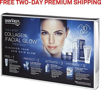 SkinPep 4 Step Collagen Facial Glow Treatment - 30 Day Set - Discover Your New Skin Glow + Skincare + Anti Wrinkle + Moisturising + Hydrating - SkinPep Best Choice For Premium Quality Collagen Treatment by SkinPep