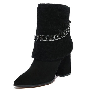 Nine Seven Suede Leather Women's Pointed Toe Chunky Heel Chain Handmade Boot with Fur (6, burgundy)