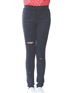 ZANLICE Women's Plus Size Stretch Denim Broken Hole Legging Pant 2X Plus