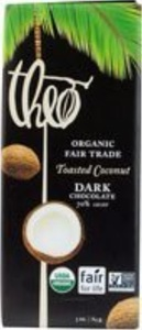 Theo Chocolate Organic Dark Chocolate With Toasted Coconut Bar 3 Oz. (Pack of 12) - Pack Of 12 by Theo Chocolate