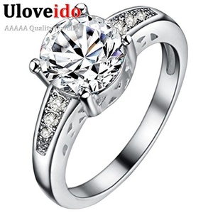 Slyq Jewelry Fashionable Brand Glass Ring with Crystals for Lovers CZ Silver Plated Jewelry for Valentine's Day PJ153