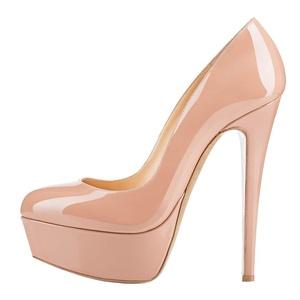 Maikool Women's Elegant Closed Toe High Heels OL Style Patent Platform Heels 15 M US Nude Patent