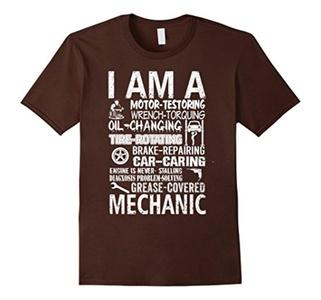 Men's I AM A MECHANIC MEN T SHIRT Large Brown