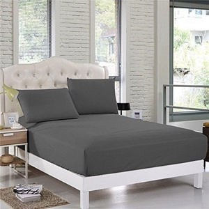 Comfort Bed Fitted Sheet 700 TC Dark Gray SOLID Full Size With 19