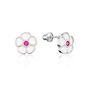 925 Sterling Silver Rhodium Plated Enamel Flower Cubic Zirconia Screwback Baby Girls Earrings