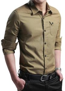 FRTCV Men's Button Down Shirt Causal Cotton Long Sleeve Dress Shirts Yellow Tag 4XL/US L